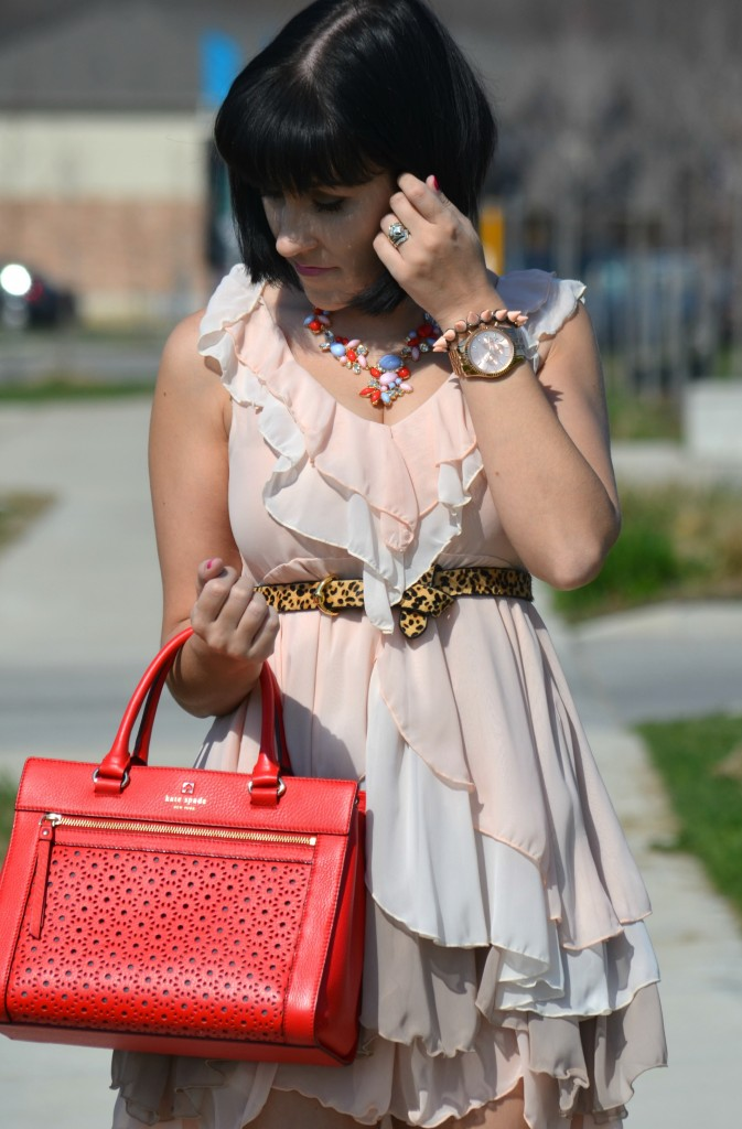 What I Wore, pink Dress, H&M dress, babydoll, statement Necklace, The Red Bow, rose gold statement watch, Michael Kors rose gold watch, spiked Bracelet, Canadian fashionista