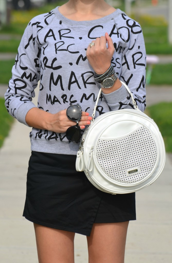 What I Wore, Canadian fashionista, marc Jacobs sweater, grey printed sweater, black oversized sunglasses, polette, Caravelle New York watch, Swarovski wrap bracelet, black wrap bracelet