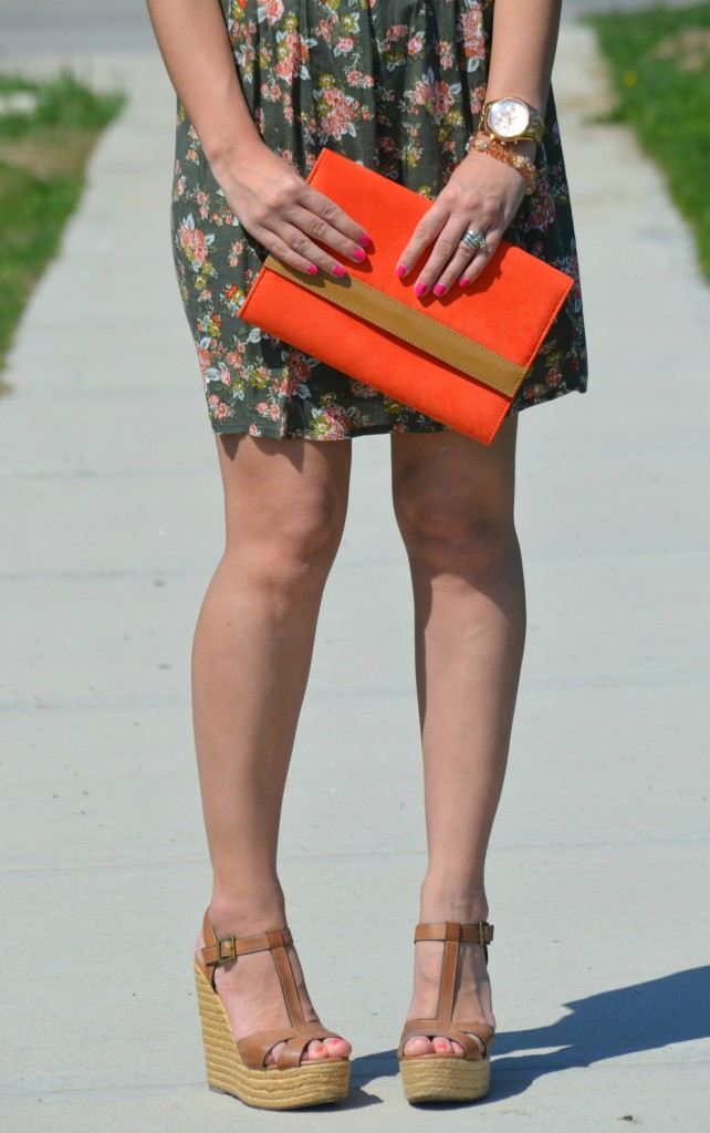 What I Wore, floral Dress, Smart Set dress, pinkstix, gold oversize watch, Michael Kors watch, orange Clutch, Wedges, Aldo wedges, Canadian fashionista