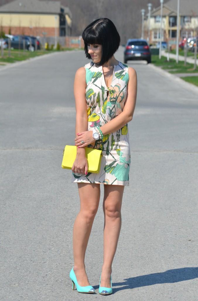 What I Wore, floral Dress, H&M dress, spiked Bracelets, Aldo bracelets, yellow Purse, Canadian fashionista, mint umps, Urban Originals heels