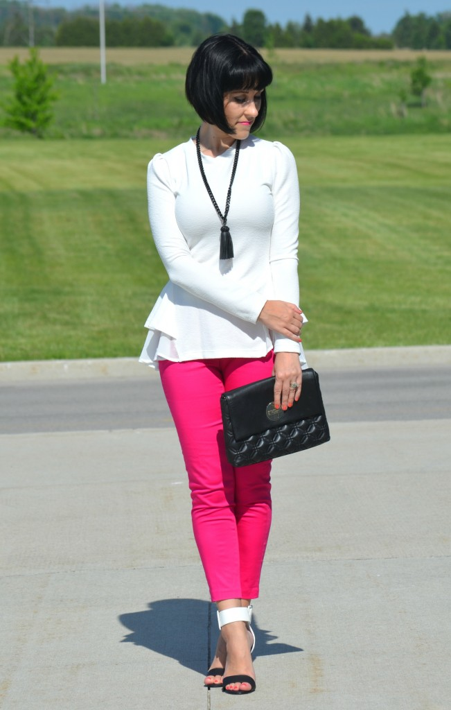What I Wore, Canadian fashionista, white flirty top, black fringe necklace, Cocoa Jewelry, black kate spade purse, Pink Pants, colour blocked heels, Wal-Mart finds