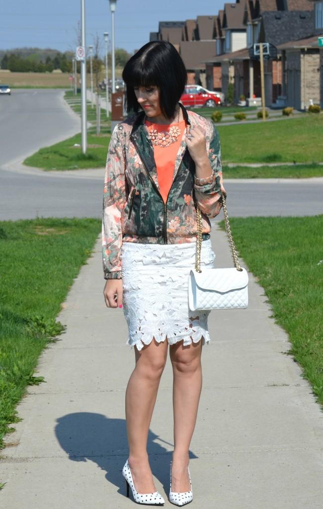 What I Wore, coral blouse, avon blouse, Ink Painting Print coat, Sheinside jacket, Rebecca Minkoff purse, Shopbop purse, White Crochet Pencil Skirt, polka dot pumps, Le Chateau heels