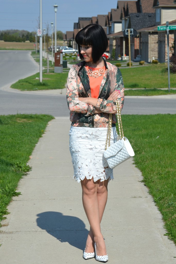 What I Wore, coral blouse, avon blouse, Ink Painting Print coat, Sheinside jacket, Rebecca Minkoff purse, Shopbop purse, White Crochet Pencil Skirt, polka dot pumps, Le Chateau heels