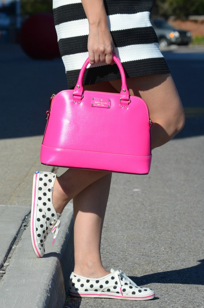 What I Wore, white Tee, rose gold watch, Michael Kors watch, hot pink kate spade purse, shop miss a bracelet, black and white skirt, sheinside skirt, Kate Spade x Keds, Canadian fashionista