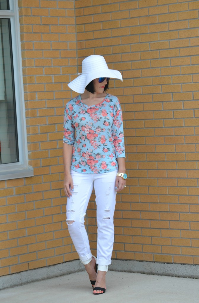 What I Wore, Walmart challenge, looks for less, Floral Top, Aviators, gold statement Watch, white floppy hat, white boyfriend jeans, colour blocked heels, Canadian fashionista