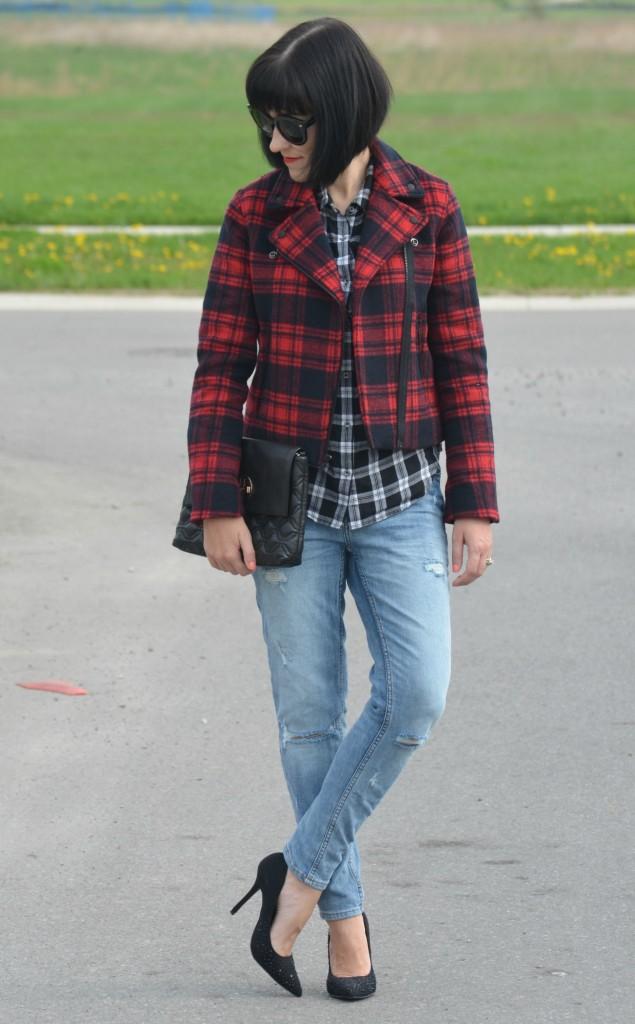 What I Wore, Canadian fashionista, Plaid Shirt, Gap Plaid Jacket, Polette, black kate spade purse, boyfriend Skinny Jeans, H&M jeans, black Call It Spring heels