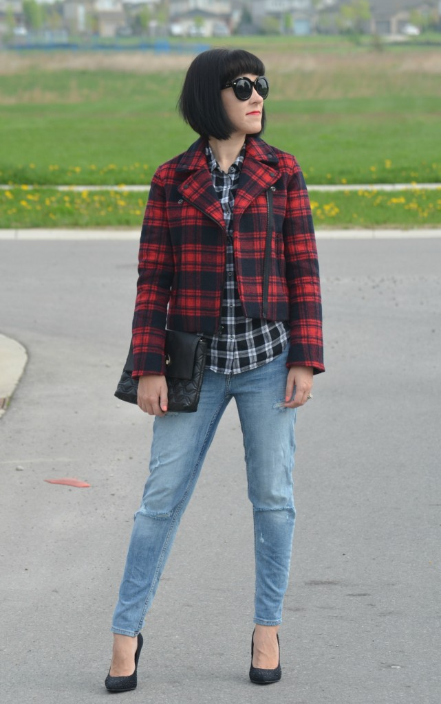 What I Wore, Canadian fashionista, Plaid Shirt, Gap Plaid Jacket, Polette, black kate spade purse, boyfriend Skinny Jeans, H&M jeans, black Call It Spring heels