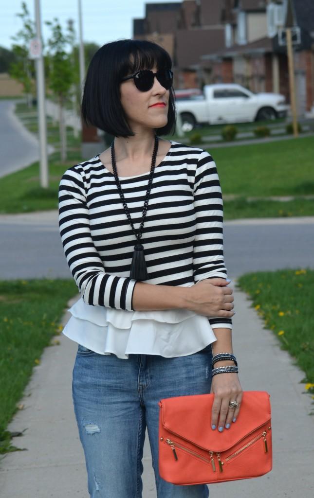 What I Wore, black and white striped blouse, Sheinside blouse, oversize Sunglasses, Polette sunglasses, coral clutch, statement necklace, cocoa jewelry, Swarovski wrap bracelet, boyfriend jeans