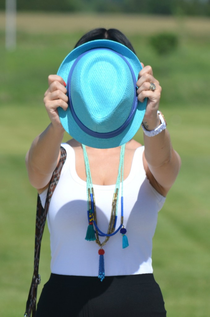 white tank top, beaded loft necklace, blue fedora, aldo hat, white fossil watch, black avon skirt, Jetset Black Patterned Hip Pack Bag, TOMS bag, black target sandals, Canadian fashionista