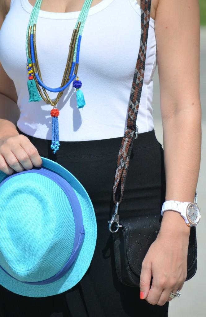 white tank top, beaded loft necklace, blue fedora, aldo hat, white fossil watch, black avon skirt, Jetset Black Patterned Hip Pack Bag, TOMS bag, black target sandals, Canadian fashionista