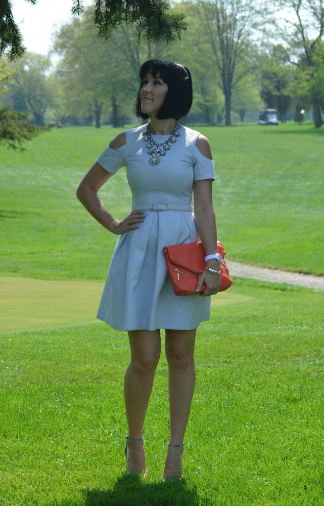 What I Wore, Canadian fashionista, blue Dress, Elle x RW, statement Necklace, Cocoa Jewelry, coral clutch, Pinkstix, white fossil watch, RW & Co x Elle
