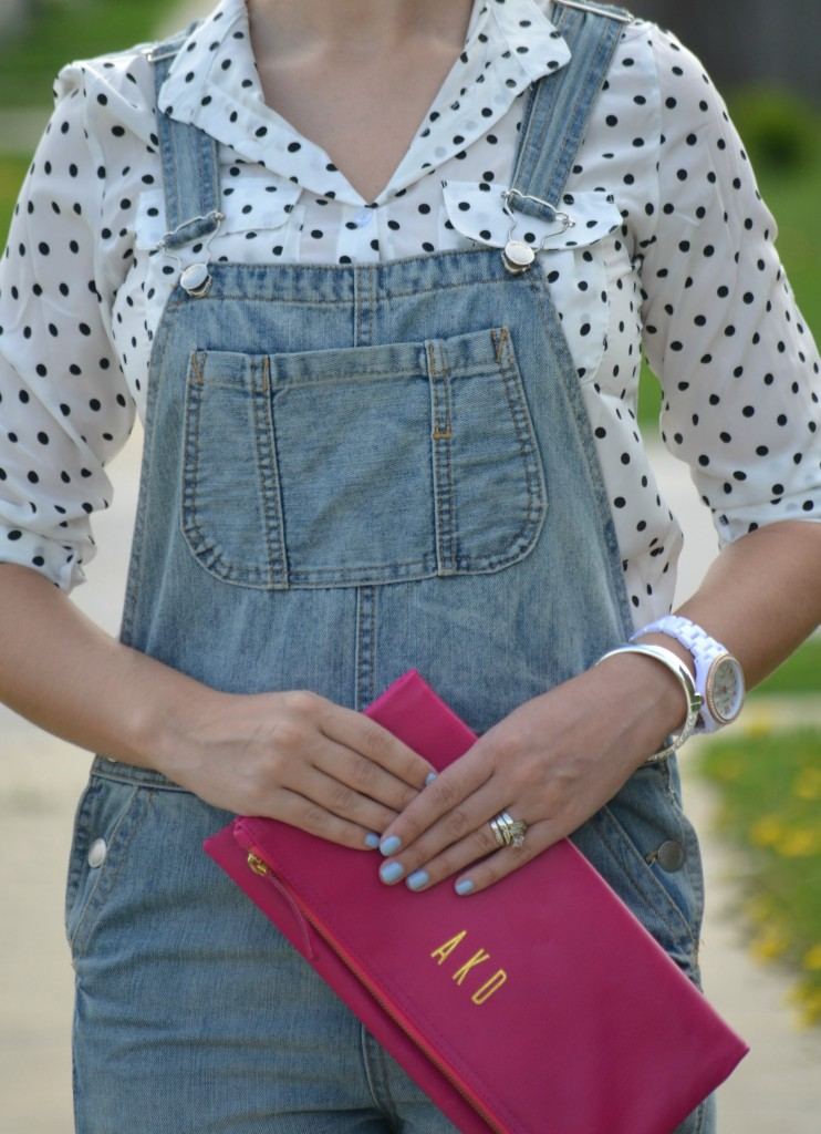 polka dot blouse, aviators flash, Wal-Mart looks for less, #looksforless, Pinkstix, white fossil watch, Ladd Accessories, topshop overalls, Viking Sandals, Yengo Shoes