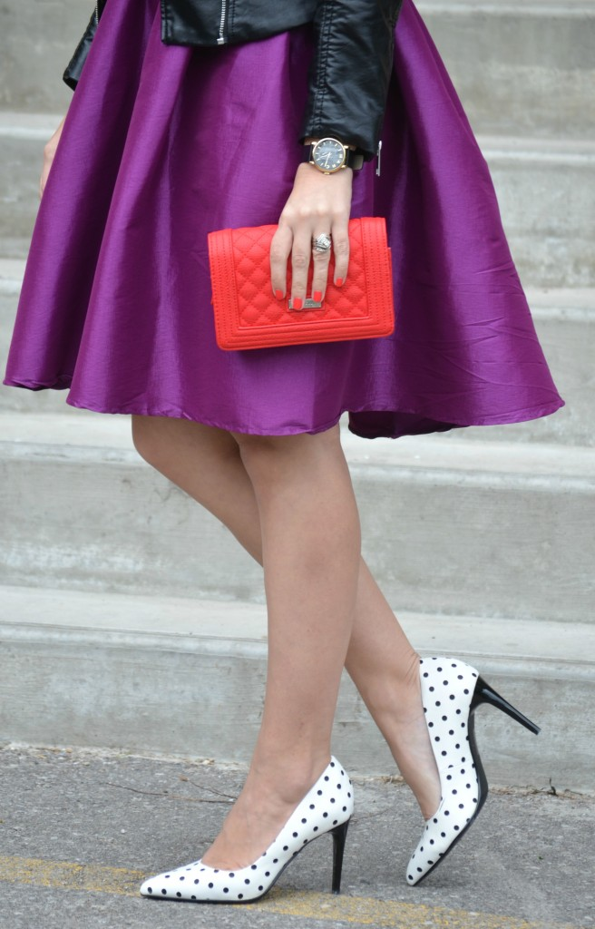 red Purse, Pinkstix, purple party skirt, polka dot pumps, Le Chateau heels, Canadian fashion blogger