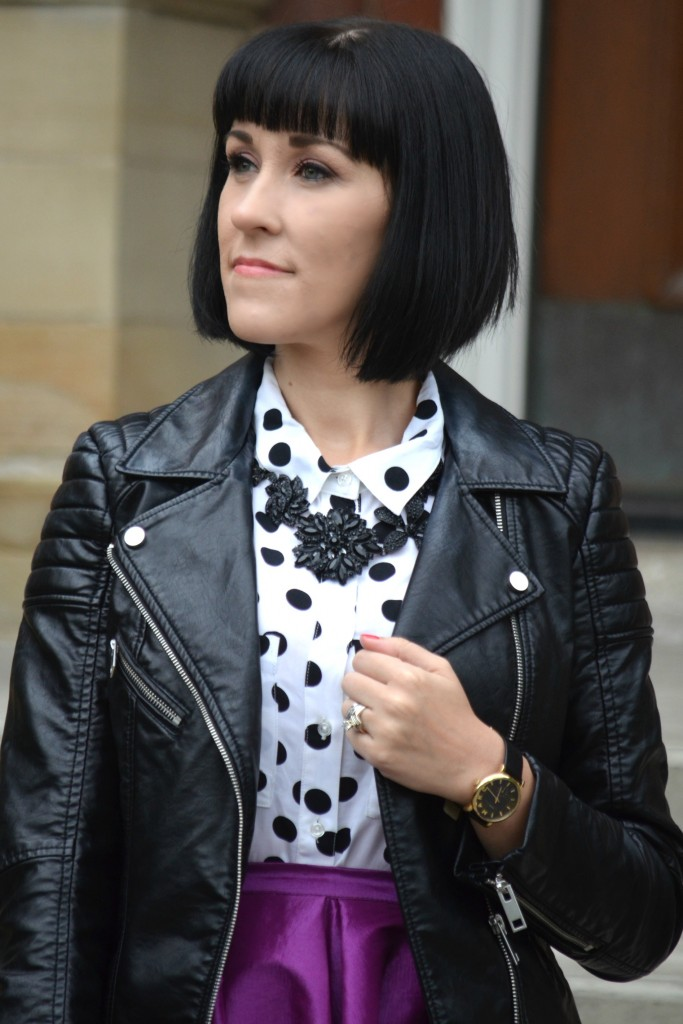 What I Wore, canadan fashionista, polka dot blouse, reitmans blouse, black statement Necklace, Cocoa Jewelry, Faux Leather Jacket, H&M jacket, marc Jacob watch, black and gold watch
