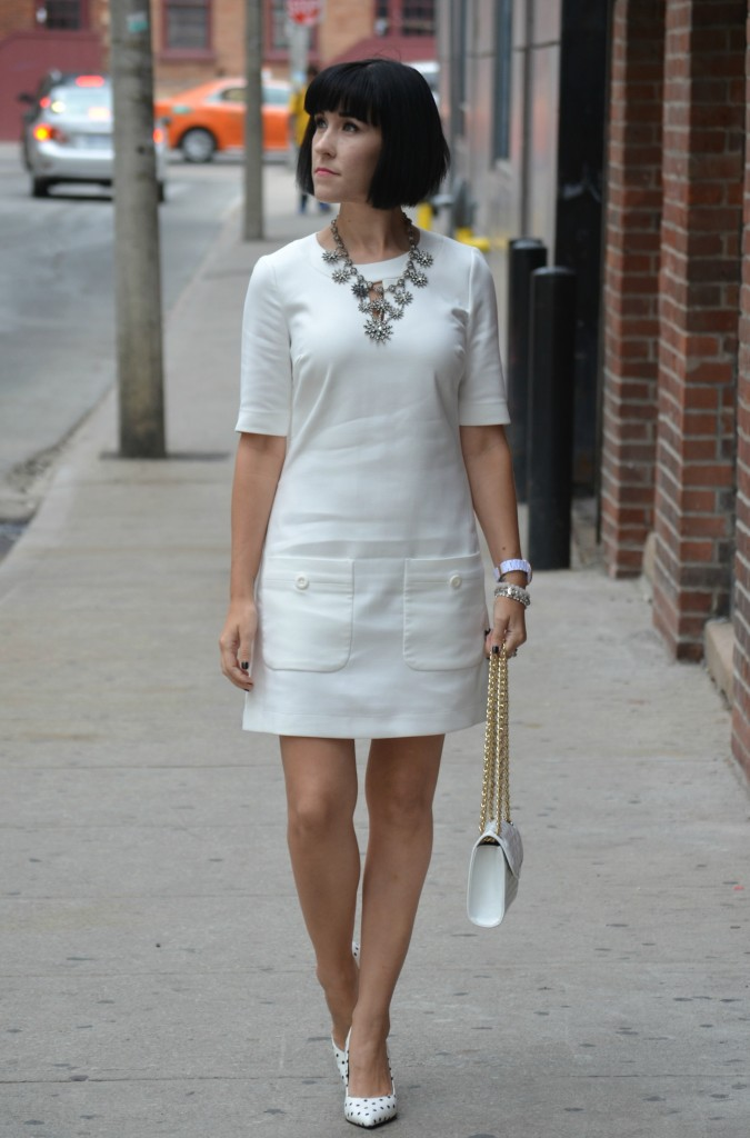 Canadian fashionista, Summer Solstice, 60's inspired dress, white rw & Co dress, Cocoa Jewelry, white fossil watch, white Rebecca Minkoff Purse, Polka Dots Pumps, Cowboy Boots