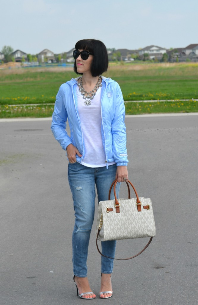 What I Wore, Canadian fashionista, white Tee, Cocoa Jewelry necklace, Polette sunglasses, eleven Elfs jacket, Michael Kors purse, Urban Originals shoes