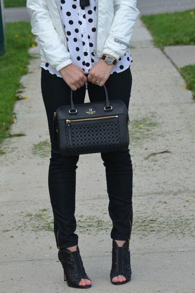 What I Wore, Canadian fashionista, polka dot Blouse, Reitmans blouse, Eleven Elfs, eleven elfs jacket, black kate spade purse, Cocoa Jewelry, marc Jacob Watch, DSW Canada