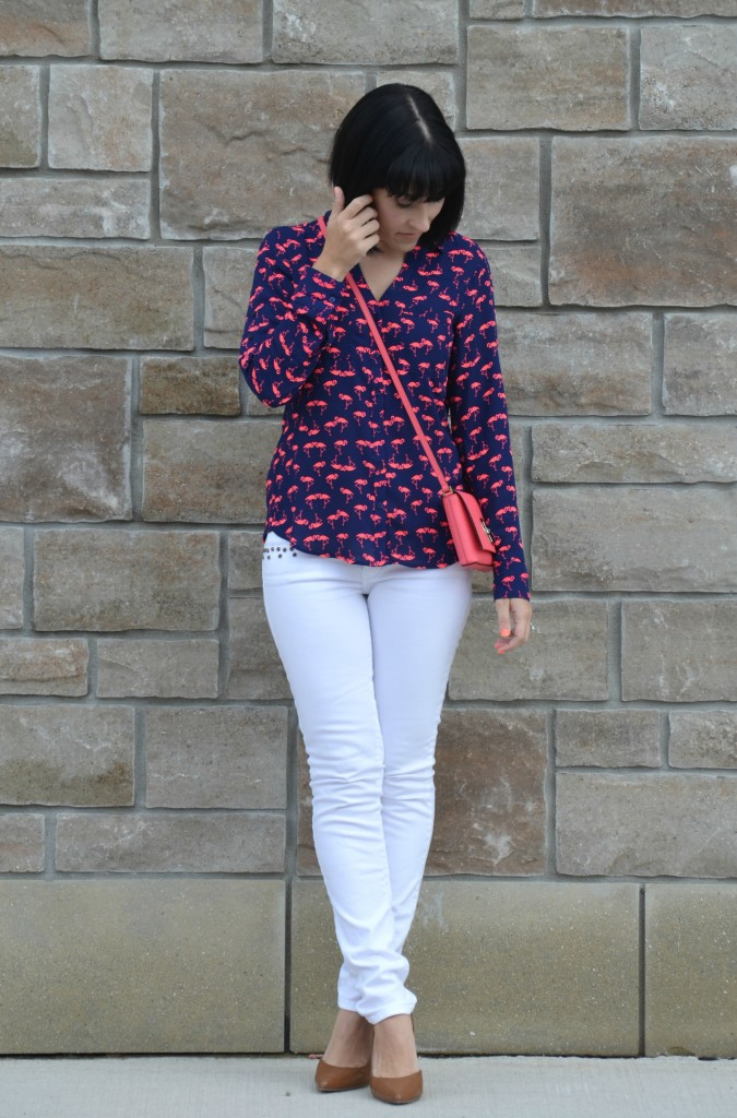 What I Wore, Canadian fashionista, express Flamingo Blouse, express runway blouse, coral kate spade purse, white skinny American Eagle jeans, nude pumps, target heels, American eagle jeans, white skinny jeans