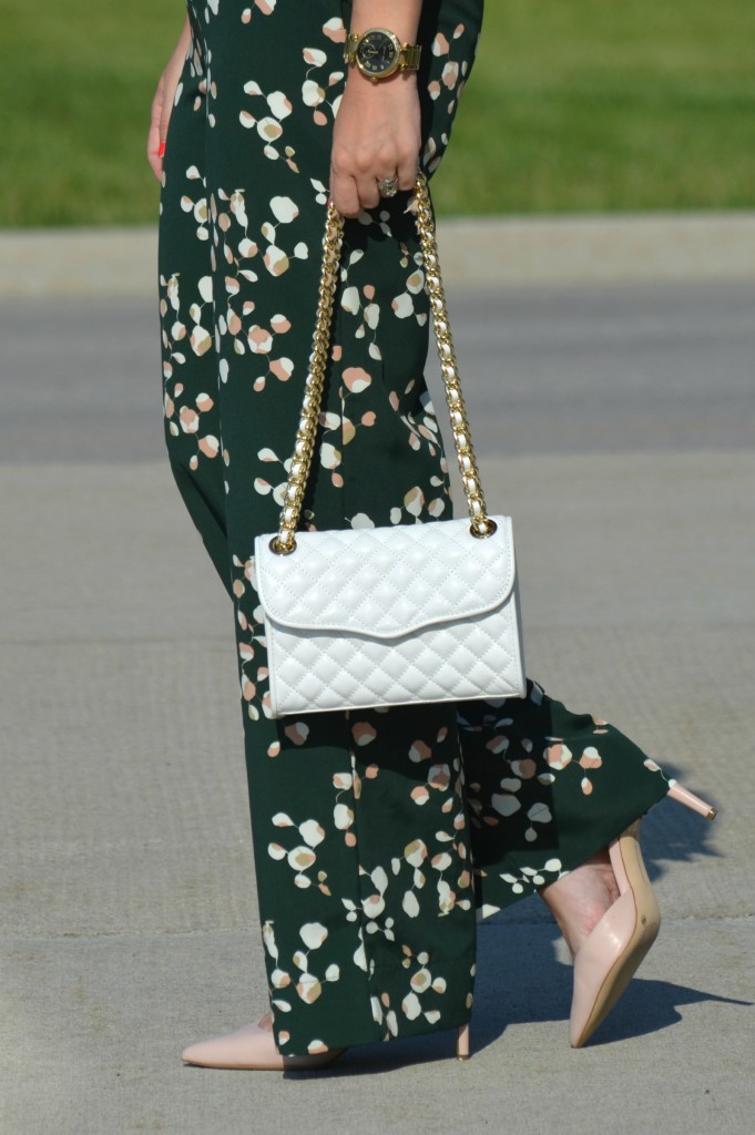 floral jumpsuit, white rebecca minkoff purse, bcbg pumps, jumpsuit, one-piece, canadian fashionista