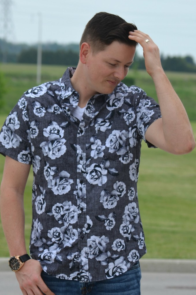 Canadian Fashionista, winners fab find, floral top for men, floral for men, black diesel watch, forever 21 men jeans, black sneakers, Lacoste sneakers, #WinnersFabFinds