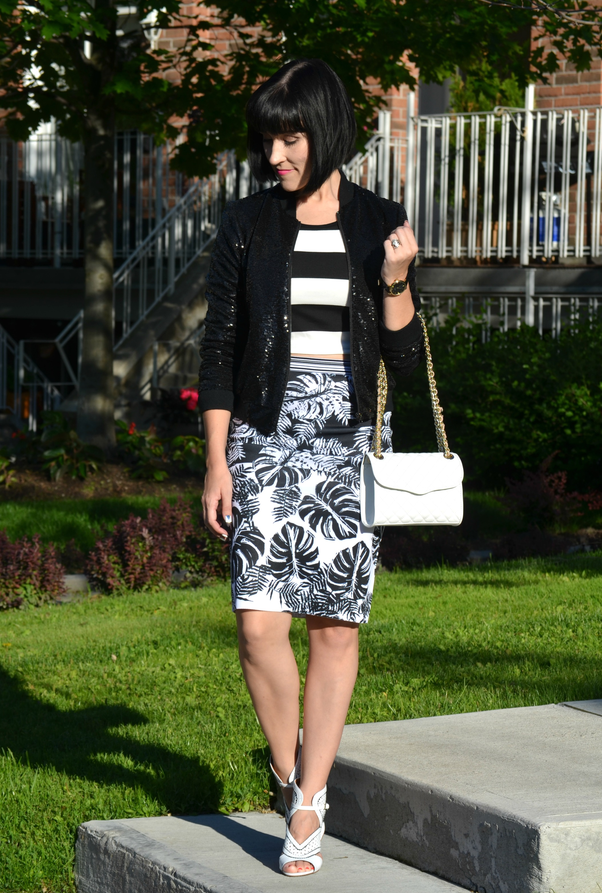 What I Wore, Canadian fashionista, Gerry weber giveaway, Sequins Jacket, guess jacket, Sheinside top, Gerry weber, Rebecca Minkoff Purse, Shopbop purse, nine west white heels