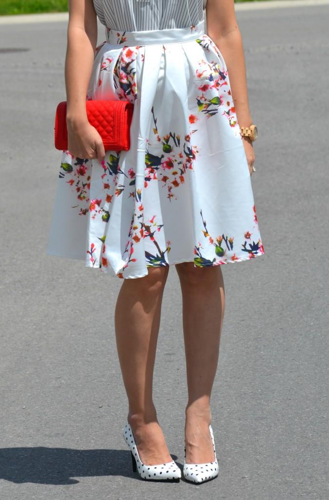 Canadian fashionista, #JordWatch, striped blouse, Loft blouse, Wood Watch, JORD, red purse, Pinkstix, Sheinside skirt, Polka Dot Pumps
