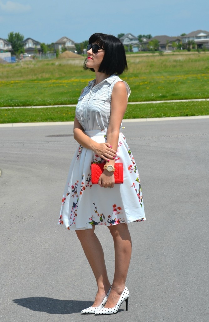Canadian fashionista, #JordWatch, striped blouse, Loft blouse, Wood Watch, JORD, red purse, Pinkstix, Sheinside skirt, Polka Dot Pumps