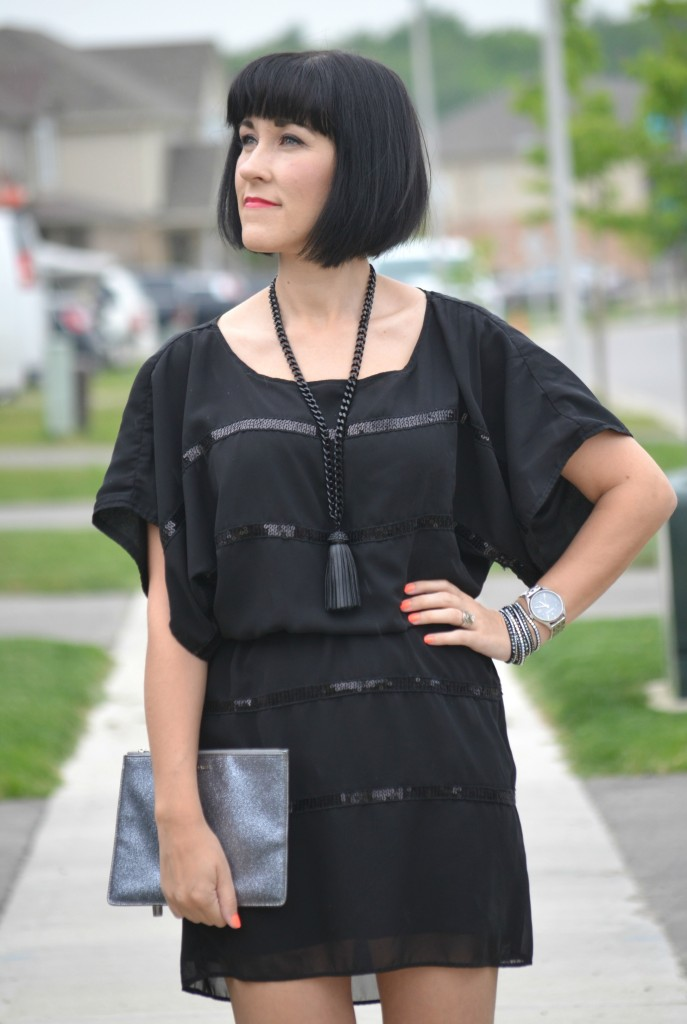 What I Wore, little black dress, Canadian fashionista, Jessica Simpson dress, Cocoa Jewelry, sliver coach clutch, black Swarovski wrap bracelet, Caravelle New York watch, black target heels, Canadian fashion blogger