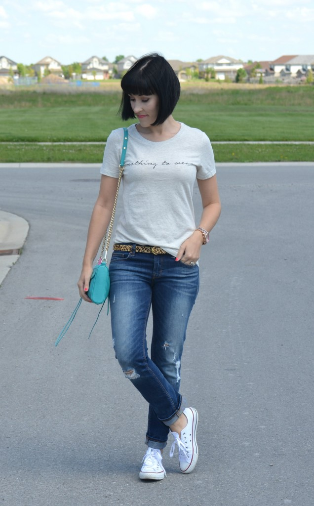 What I Wore, Canadian fashionista, Nothing to Wear, Forever 21 tee, Animal Print Belt, teal Rebecca Minkoff purse, Michael Kors golf watch, The Gap Boyfriend Jeans, white Sneakers, Converse