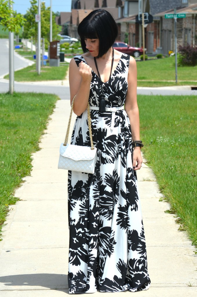 Beauty United, #ElleRW, Elle for RW, black and white floral dress, rw maxi dress, The Pink Millennial, Cocoa Jewelry, white belt, Rebecca Minkoff purse