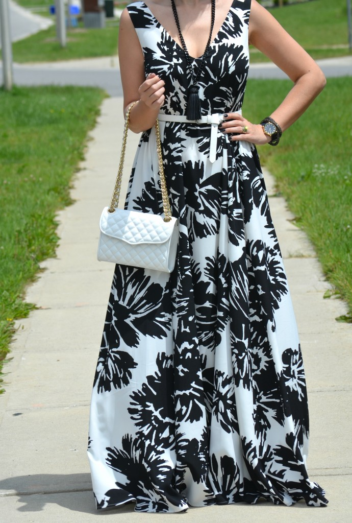 Beauty United, #ElleRW, Elle for RW, black and white floral dress, rw maxi dress, Canadian Fashionista, Cocoa Jewelry, white belt, Rebecca Minkoff purse