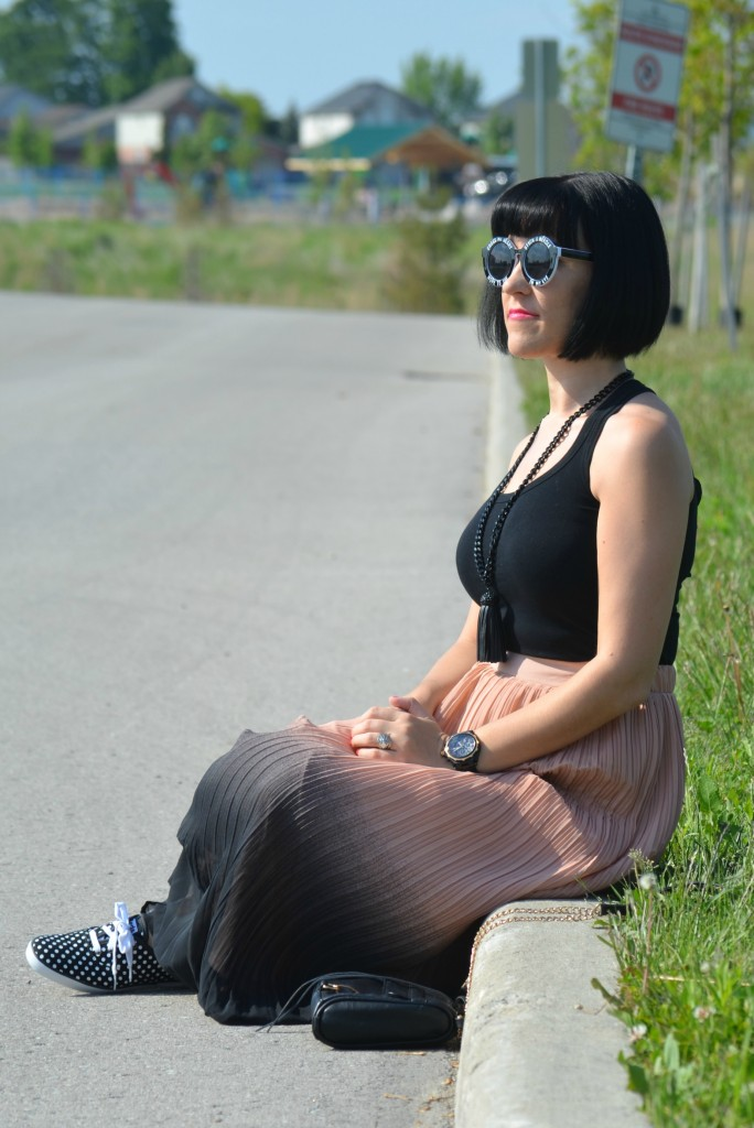 What I Wore, Canadian fashionista, black tank top, black statement necklace, Cocoa Jewelry, black guess watch, Wildfox Bel Air Sunglasses, colour blocked maxi skirt, black and white polka dot sneakers, keds