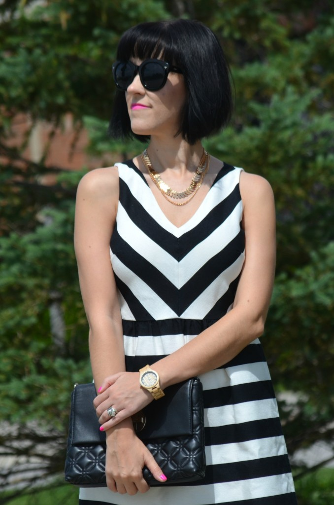 What I Wore, Canadian fashionista, loft dress, black and white striped dress, Polette sunglasses, shop miss a necklace, kate spade purse, JORD wood watch, #JORDWatch, nude heels