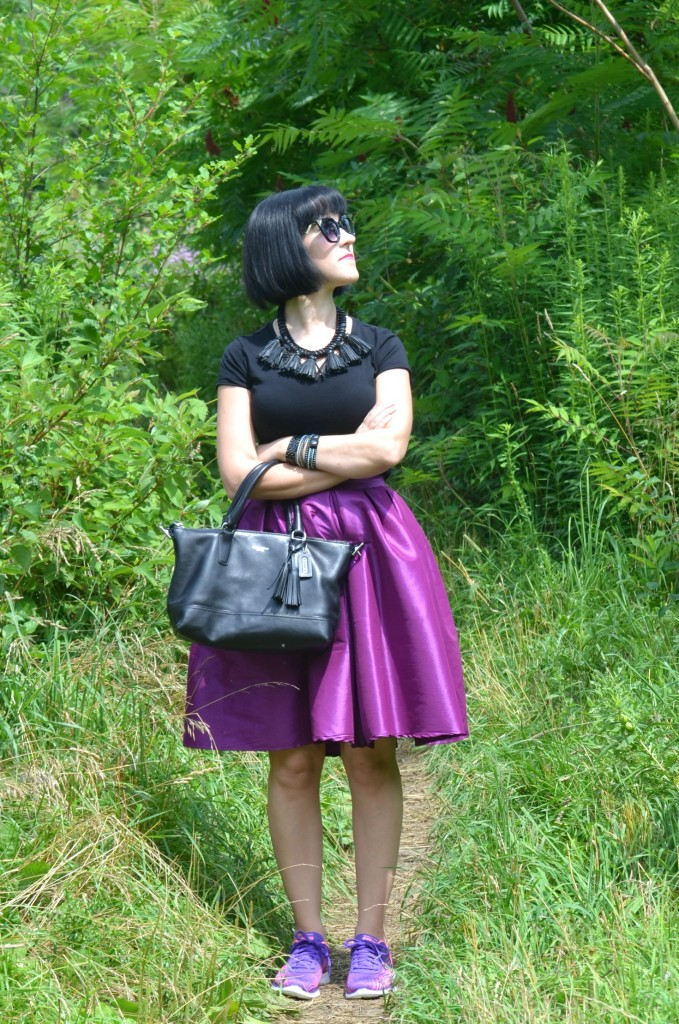 What I Wore, Canadian fashionista, black t-shirt, Polette, black coach purse, Cocoa Jewelry, black Bulova watch, Swarovski bracelet, purple party skirt, Skechers