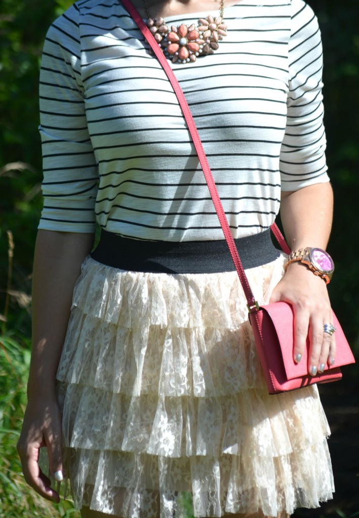 What I Wore, Canadian fashionista, striped top, kate spade purse, forever 21 necklace, gold Michael kors watch, statement watch, call it spring heels
