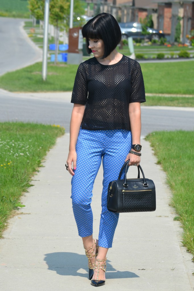 What I Wore, Canadian fashionista, black mesh top, black banana Republic blouse, black guess watch, black kate spade purse, Cocoa Jewelry, BCBG pumps, Swarovski bracelet