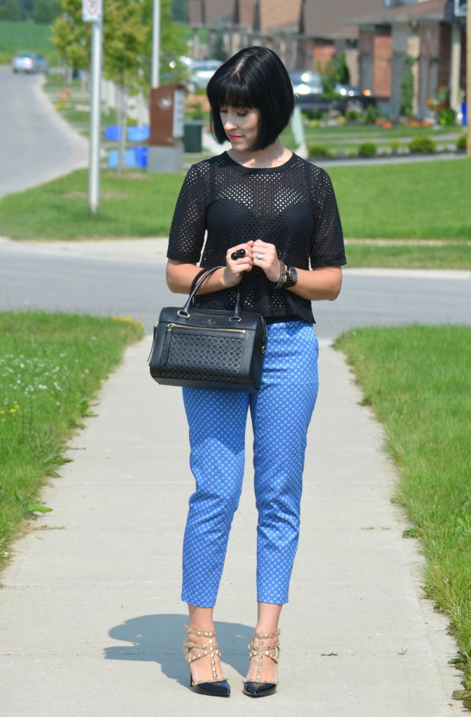 What I Wore, Canadian fashionista, black mesh top, black banana Republic blouse, black guess watch, black kate spade purse, Cocoa Jewelry, BCBG pumps, Swarovski bracelet