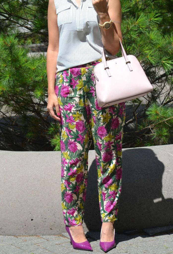 What I Wore, Canadian fashionista, Clarisonic Twitter chat, Loft striped blouse, pink Kate Spade Purse, shopbop, Wood Watch, Jord, h&M Floral Pants, purple pumps