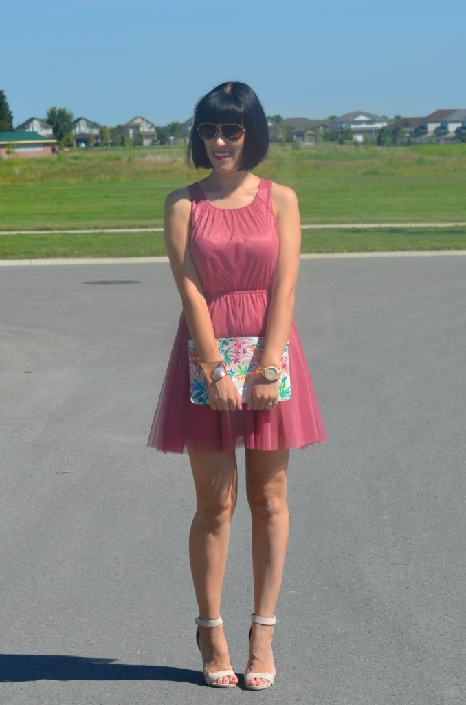 What I Wore, Canadian fashionista, pink girly Dress, H&M tutu dress, Wood Watch, Jord watch, aviator sunglasses, rose gold Cuff, Cocoa Jewelry, floral clutch, nude heels
