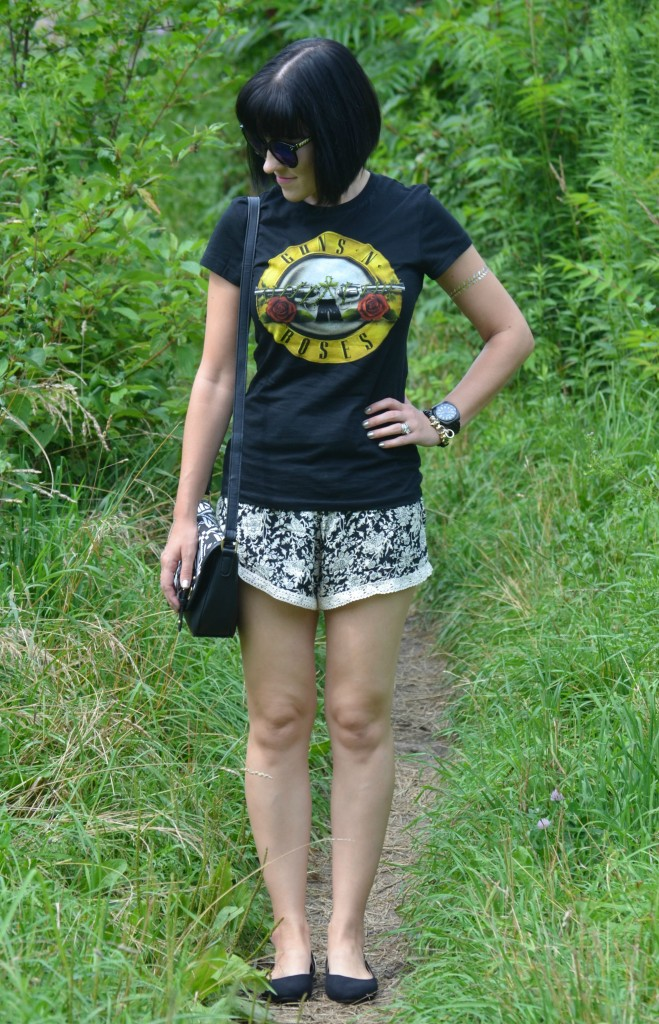 rock the park, ldnont, Canadian fashionista, Guns N' Roses Tee, Giant Tiger, polette sunglasses, Cocoa Jewelry, Bulova watch, crossover Bag