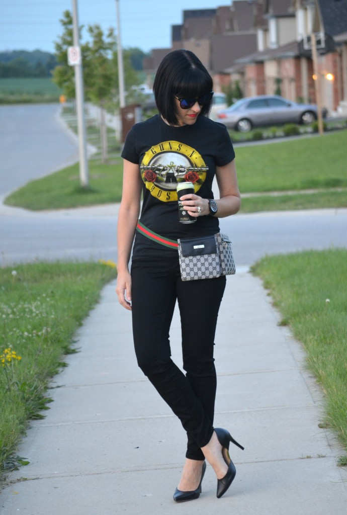 What I Wore, Canadian fashionista, giant tiger tee, guns n roses tee, Polette, Bulova watch, fanny pack, Gucci fanny pack, black skinny jeans, target shoes