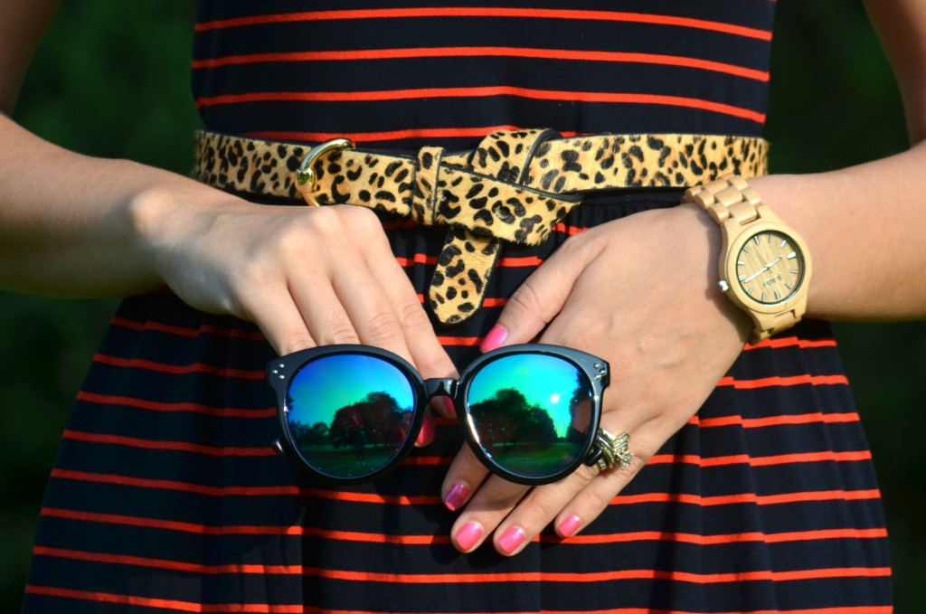 What I Wore, Canadian Fashionista, The DASH Charity, Joe Fresh dress, Polette sunglasses, Jewlz From Lineve, wood Watch, jord watch, Animal Print Belt, sparkly Keds