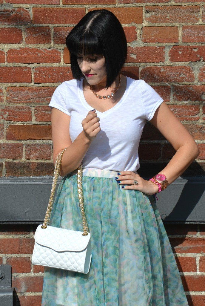 What I Wore, Canadian fashionista, bioderma, white tee, rose gold necklace, white quilted Rebecca Minkoff Purse, Lauren Conrad Skirt for Kohls, kate spade x keds, polka dot keds