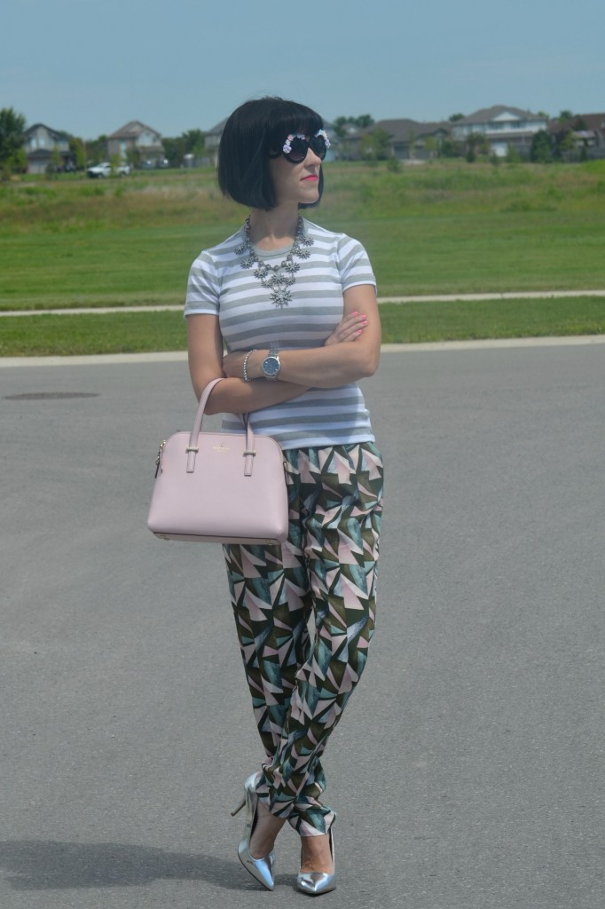 What I Wore, Canadian fashionista, striped gap tee, oversized Floral Sunglasses, zeroUV sunglasses, Cocoa Jewelry, pink Kate Spade Purse, Swarovski bracelet, silver Caravelle New York watch, GERRY WEBER