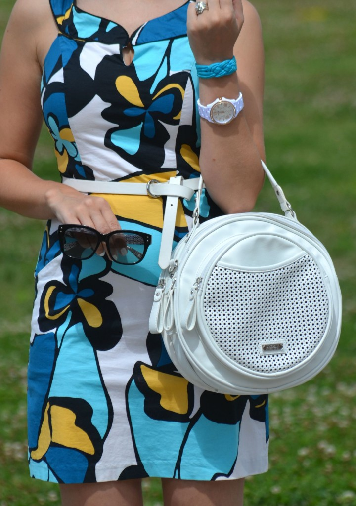 What I Wore, Canadian fashionista, BCBG summer dress, white belt, coach sunglasses, white fossil watch, see song design, pinkstix, black wal-mart heels, Canadian fashion blogger