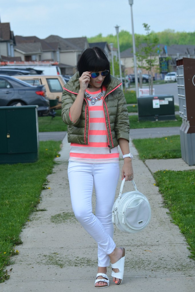 What I Wore, Canadian fashionista, Canadian fashion blogger, coral Tee, Eleven Elfs jacket, mirrored sunglasses, Cocoa Jewelry, white fossil watch, white skinny jeans,