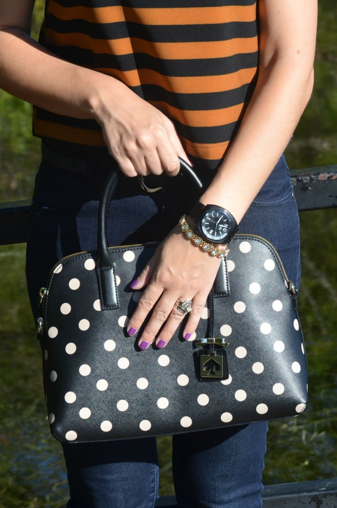 What I Wore, black Bulova Watch, Canadian fashionista, pearls for Girls, polka dot kate spade purse, skinny jeans, I Want Shoes Pumps