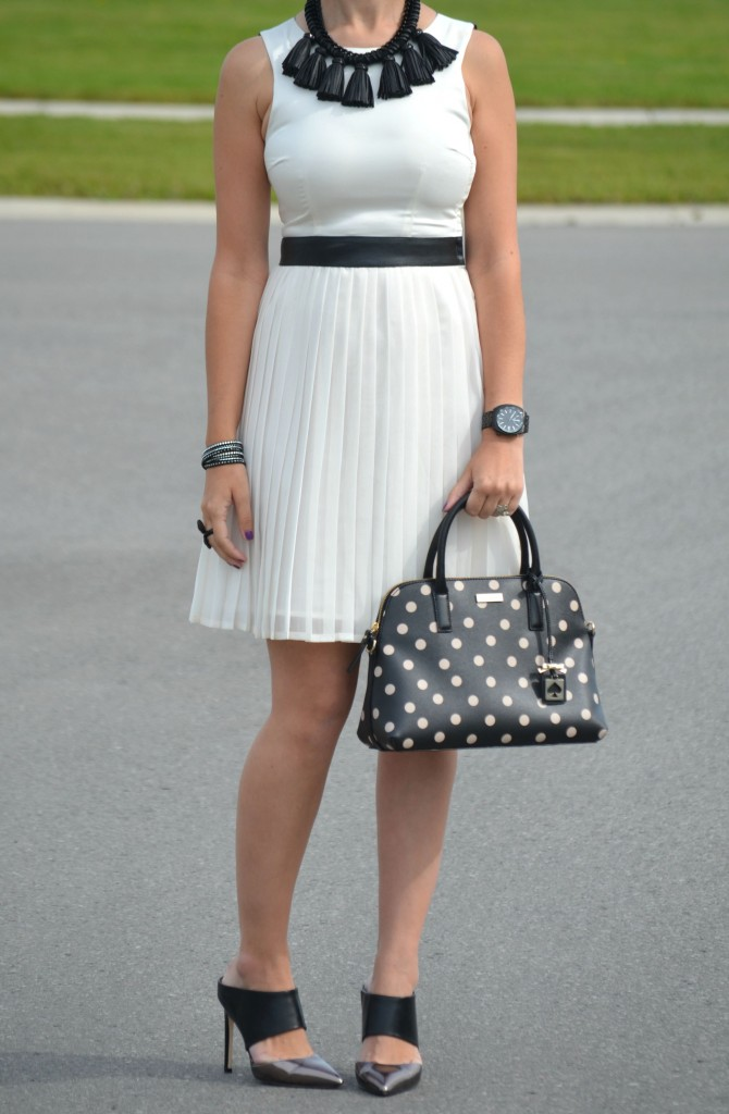 What I Wore, white Forever 21 dress, Cocoa Jewelry, fringe necklace, polka dot kate spade purse, Polette sunglasses, Polette Félindra, Town Shoes, Canadian fashionista