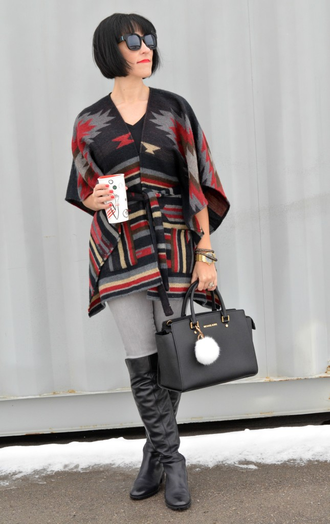 plaid cape, fashionista blog, canadian fashionista