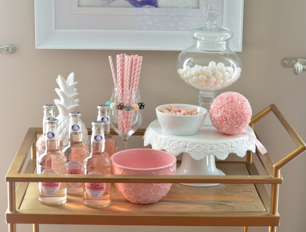 pink bar cart decor